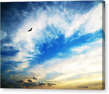 Above The Clouds - American Bald Eagle Art Painting Canvas Print by Sharon Cummings