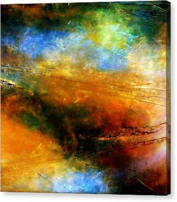 Above The Clouds Space Inspired Fine Art Nebula Cosmic Universe Painting Canvas Print by Holly Anderson