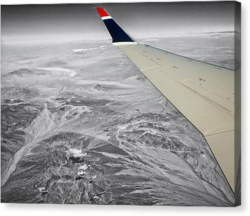 Airoplane Canvas Print - Above The Clouds Wing Tip View Sc by Thomas Woolworth