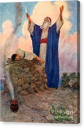 Abraham And Isaac On Mount Moriah Canvas Print by William Henry Margetson