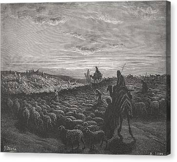 Abraham Journeying Into The Land Of Canaan Canvas Print by Gustave Dore