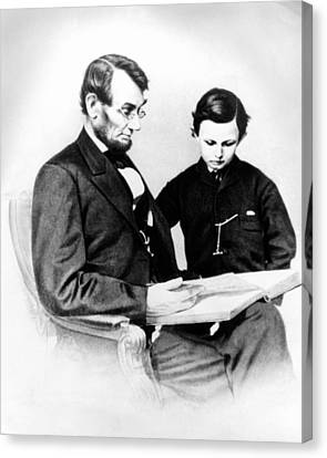 Abraham Lincoln And Tad Canvas Print by Anonymous