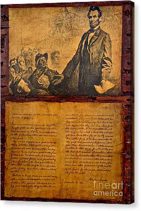 Abraham Lincoln The Gettysburg Address Canvas Print by Saundra Myles