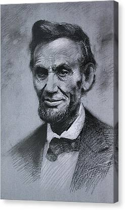 Canvas Print featuring the drawing Abraham Lincoln by Viola El