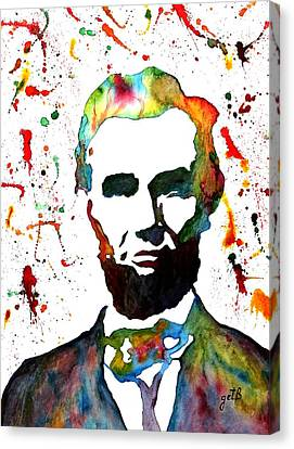 Canvas Print featuring the painting Abraham Lincoln Original Watercolor Painting by Georgeta Blanaru