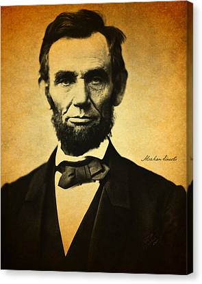 Abraham Lincoln Portrait And Signature Canvas Print