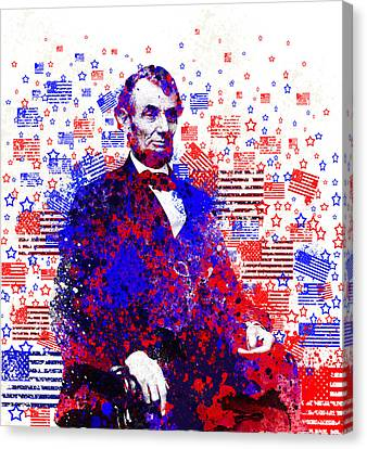 Abraham Lincoln With Flags 2 Canvas Print