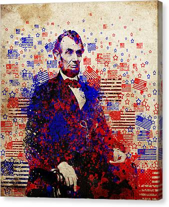 Abraham Lincoln With Flags Canvas Print