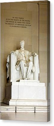 Abraham Lincolns Statue In A Memorial Canvas Print by Panoramic Images
