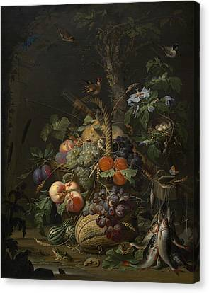 Abraham Mignon Still Life With Fruit Fish And A Nest C 1675 Canvas Print by MotionAge Designs