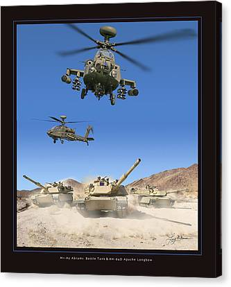 Abrams Battle Tank And Apache Longbow Canvas Print by Larry McManus