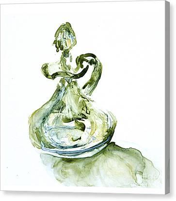 Absinthe Vinegar Cruet Depression Watercolor Canvas Print by CheyAnne Sexton