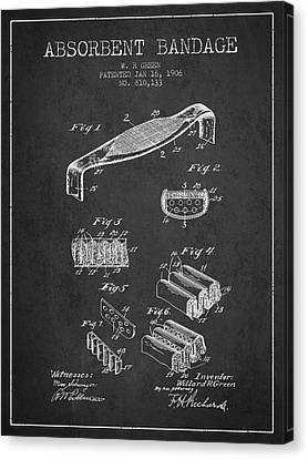 Absorbent Bandage Patent From 1906 - Charcoal Canvas Print by Aged Pixel