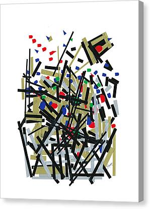Abstact In Tape And Letterforms One Canvas Print by Agustin Goba