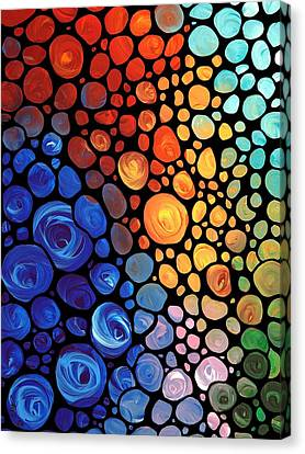 Canvas Print featuring the painting Abstract 1 - Colorful Mosaic Art - Sharon Cummings by Sharon Cummings