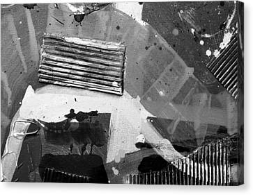 Abstract  19614 Cropped II  Greyscale Canvas Print