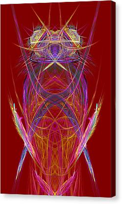 Computer Graphics Canvas Print - Abstract Alien Face On Red Background by Keith Webber Jr