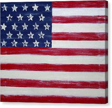 Abstract American Flag Painting Canvas Print by Holly Anderson