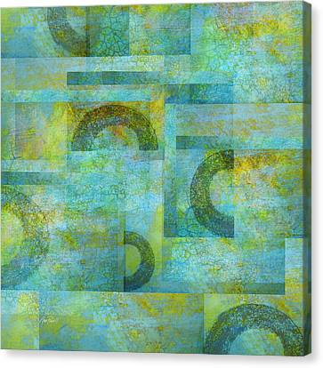 Abstract Art Blue Collage Canvas Print by Ann Powell
