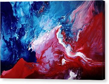Abstract Art Blue Red White By Kredart Canvas Print by Serg Wiaderny