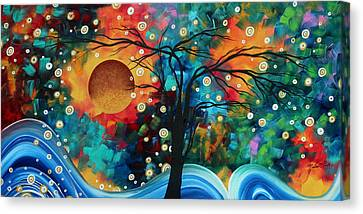 Abstract Art Bold Colorful Landscape Painting Halo Of Fire By Madart Canvas Print by Megan Duncanson