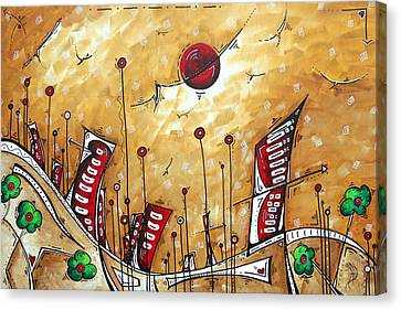 Abstract Art Cityscape Original Painting The Garden City By Madart Canvas Print by Megan Duncanson