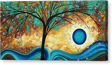 Abstract Art Contemporary Painting Summer Blooms By Madart Canvas Print by Megan Duncanson
