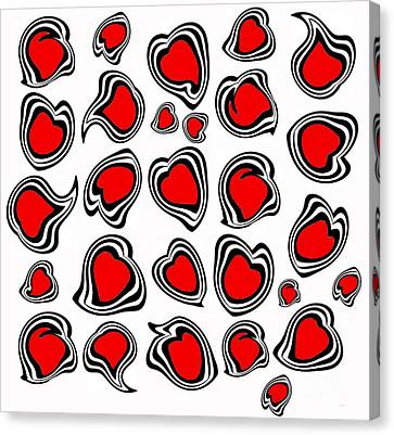 Hearts Black White Red No.386. Canvas Print by Drinka Mercep