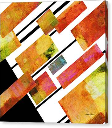 abstract art Homage to Mondrian Square Canvas Print by Ann Powell