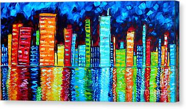 Fun Canvas Print - Abstract Art Landscape City Cityscape Textured Painting City Nights II By Madart by Megan Duncanson