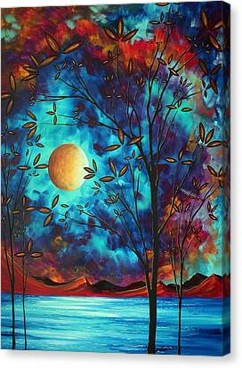 Abstract Art Landscape Tree Blossoms Sea Moon Painting Visionary Delight By Madart Canvas Print by Megan Duncanson