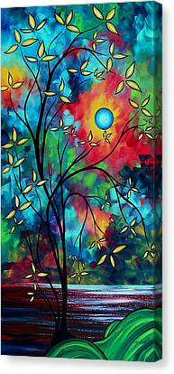 Brilliant Canvas Print - Abstract Art Landscape Tree Blossoms Sea Painting Under The Light Of The Moon II By Madart by Megan Duncanson