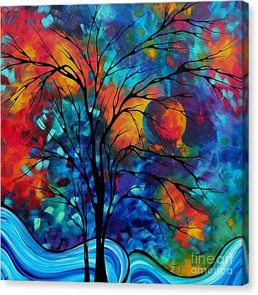 Abstract Art Landscape Tree Bold Colorful Painting A Secret Place By Madart Canvas Print by Megan Duncanson