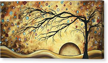 Abstract Art Metallic Gold Original Landscape Painting Colorful Diamond Jubilee By Madart Canvas Print by Megan Duncanson