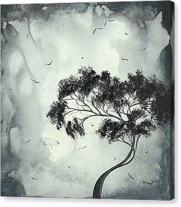 Abstract Art Original Black And White Surreal Landscape Painting Lost Moon By Madart Canvas Print by Megan Duncanson