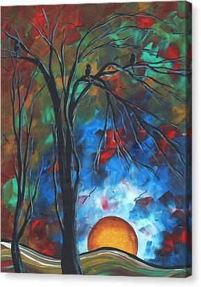 Abstract Art Original Colorful Bird Painting Spring Blossoms By Madart Canvas Print by Megan Duncanson