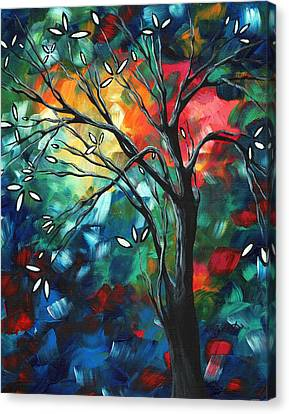 Abstract Art Original Colorful Painting Spring Blossoms By Madart Canvas Print by Megan Duncanson