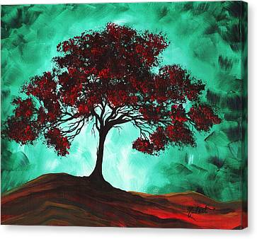 Abstract Art Original Colorful Tree Painting Passion Fire By Madart Canvas Print by Megan Duncanson