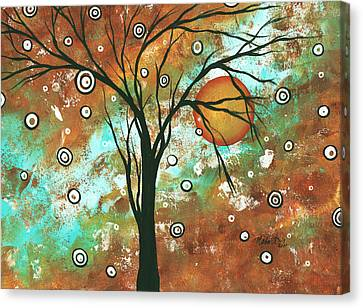 Abstract Art Original Landscape Painting Bold Circle Of Life Design Autumns Eve By Madart Canvas Print by Megan Duncanson
