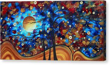 Abstract Art Original Landscape Painting Bold Circle Of Life Design Show Me The Way By Madart Canvas Print by Megan Duncanson