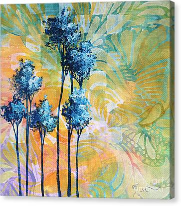 Abstract Art Original Landscape Painting Contemporary Design Blue Trees I By Madart Canvas Print by Megan Duncanson