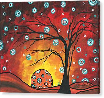 Abstract Art Original Landscape Painting Setting Sun By Madart Canvas Print by Megan Duncanson