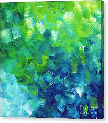 Brush Canvas Print - Abstract Art Original Textured Soothing Painting Sea Of Whimsy I By Madart by Megan Duncanson