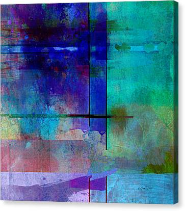 abstract-art-Rhapsody in Blue Square  Canvas Print by Ann Powell