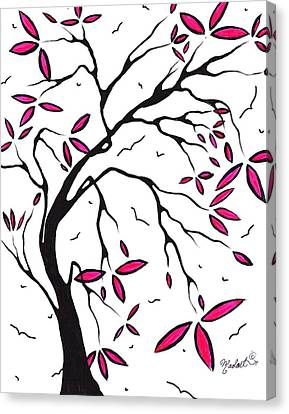 Abstract Artwork Modern Original Landscape Pink Blossom Tree Art Pink Foliage By Madart Canvas Print by Megan Duncanson