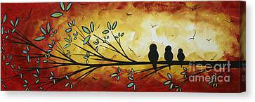 Abstract Bird Landscape Tree Blossoms Original Painting Family Of Three Canvas Print by Megan Duncanson