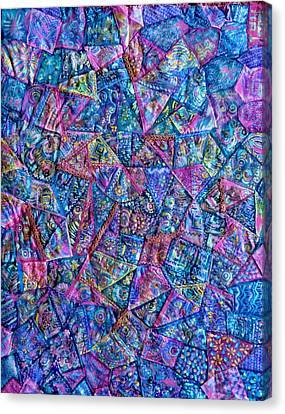Abstract Blue Rose Quilt Canvas Print by Jean Fitzgerald