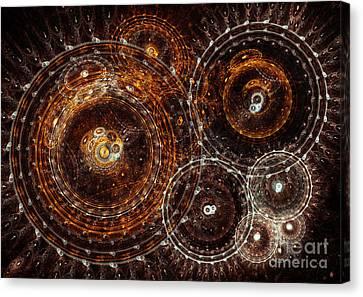 Abstract Bronze Circle Fractal  Canvas Print by Martin Capek