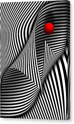Abstract - Catch The Red Ball Canvas Print by Mike Savad