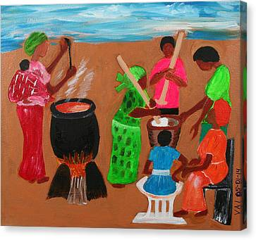 Abstract Ceremonial Cooking Canvas Print by Vivian IDOWU
